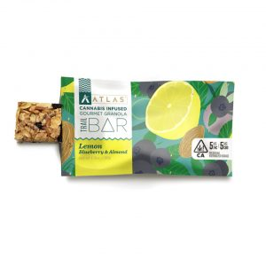 ABOUT 1:1 TRAIL BARS Atlas' new healthy and balanced trail bar is sure to please the senses with zesty lemon caramel, a hint of ginger, toasted almonds, sweet wild blueberries and poppy seeds! Made with full spectrum rosin, this bar is perfect for the trail or the back porch. — EFFECTS Balanced, Mindful, Playful — DOSING 5mg of THC and 5mg of CBD — INGREDIENTS Oats, Honey, Brown Sugar, Almonds, Coconut Cream, Sorghum, Dried Blueberries, Cannabis Infused Coconut Oil, Candied Ginger, Poppy Seeds Natural Lemon Flavor & Salt. Gluten Free, Dairy Free